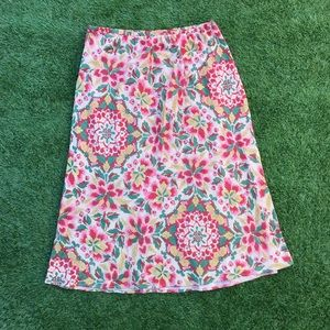 citron Santa Monica couture pink floral midi skirt